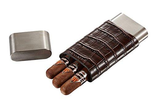 Visol Hacienda Crocodile Patterned Leather and Stainless 3 Finger Cigar Case (Leather Cigar Finger Case 3)