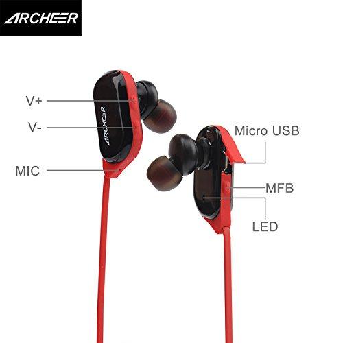 42f85dd5e5594e Archeer Auricolari Bluetooth Cuffie Wireless Stereo Earphone Bluetooth con  Microfono Viva Voce per iPhone 6s,iPhone 6s Plus, iPhone 6, 6 Plus, ...