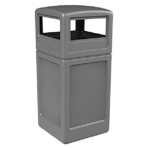 Commercial Zone Square Waste Container with Dome Lid, Polyethylene, 42-gal, Gray 73290399