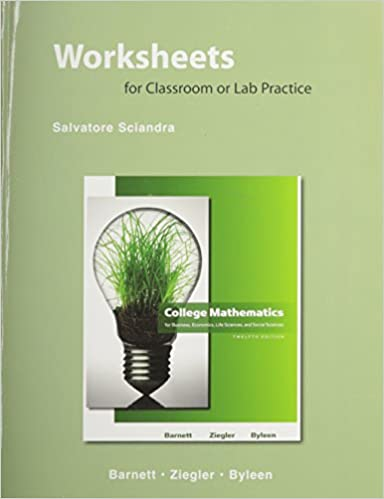 Worksheets for Classroom and Lab Practice for College Mathematics ...