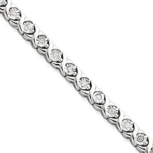 .5 Carat Hugs and Kisses Diamond Tennis Bracelet in Silver 7 Inch