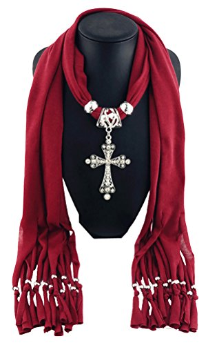 Cross Scarf (Fashion Cross Pendant Jewelry Necklace Scarf,Dark Red)
