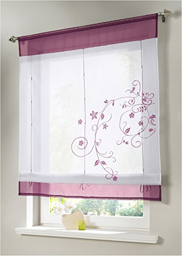 WUBODTI Roman Window Shades for Kitchen Bathroom Small Windows Purple Embroidered Floral Window Treatments Valance for Bedroom Living Room,32