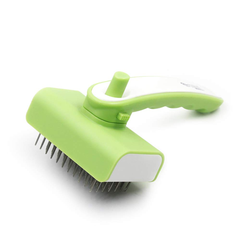 SummarLee Pet Comb Stainless Steel Needle Hair Removal Comb Dog Cat Open Knot Comb Hair Removal Telescopic Brush Rubber Handle Pink Green 16.8cm × 9.8cm,Green