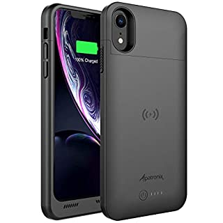 Alpatronix iPhone XR Battery Case, 5000mAh Slim Portable Protective Extended Charger Cover with Qi Wireless Charging Compatible with iPhone XR (6.1 inch) BXXr - (Black)