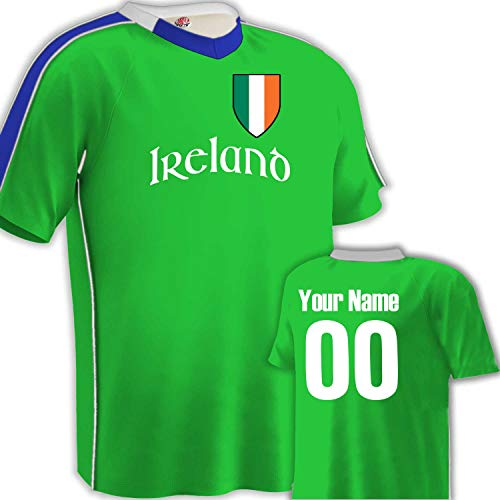 Customized Ireland Soccer Jersey Youth Small in Neon Green and Royal