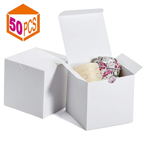 MESHA Gift Boxes 4x4x4 Inches,Kraft Paper Gift Boxes with Lids for Gifts,Crafting,Cupcake,Cardboard Boxes,Bridesmaid Proposal Boxes,Wedding Favor Boxes,Gift Ornaments,Easy Assemble Boxes, (50)