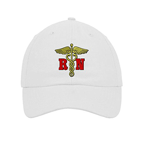 RN Logo Registered Nurse Embroidery Twill Cotton 6 Panel Low Profile Hat White