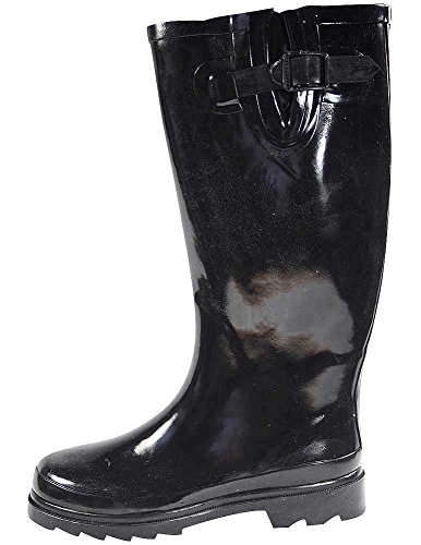 SunVille Women's Ditsy Dots Rubber Rainboot and GardenBoot,11 B(M) US,all black (Boots Women Rain Size 7)