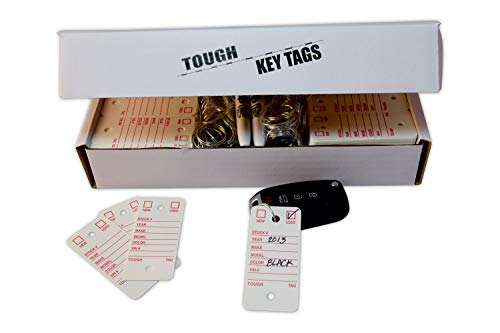 Poly Key Tag, Car Key Tag, 500 per Box, with Rings and Pens Tough (Survivor) (White)