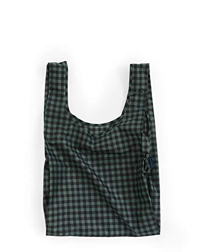 BAGGU Standard Reusable Shopping Bag, Eco-friendly Ripstop Nylon Foldable Grocery Tote, Green Gingham