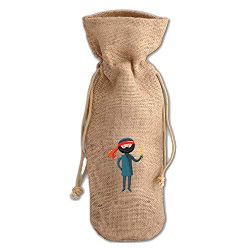Costume Ninja Jute Burlap Wine Drawstring Bag Wine Sack Natural -