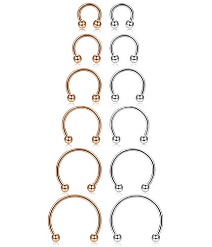 ORAZIO 12Pcs 16G Stainless Steel Nose Rings Fake Nose Septum Horseshoe Earring Body Piercing 6MM-16MM Silver Tone And Rose Gold
