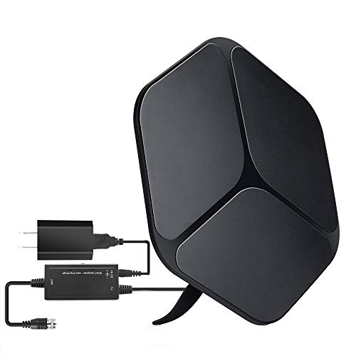 【2019 Upgraded】 HDTV Antenna Indoor Digital TV Antenna, 60-80 Miles Range HD Antenna with Detachable Amplifier Signal Booster and 16FT Coaxial Cable - Extremely High Reception(Black)