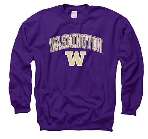 Campus Colors Washington Huskies Adult Arch & Logo Gameday Crewneck Sweatshirt - Purple, ()