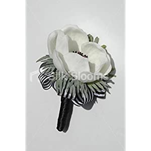 Fresh Touch Anemone Wedding Grooms White Poppy Buttonhole 3