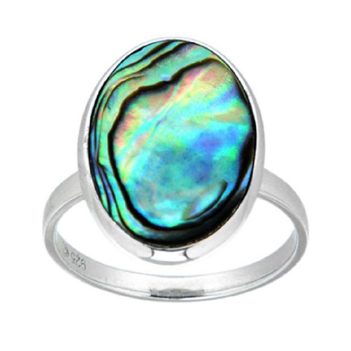 Pearlz Ocean Sterling Silver Abalone Shell Fashion Ring Jewelry for Women (Shape Mother Of Pearl Ring)