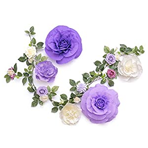 Ling's moment Handcrafted Large Crepe Paper Flowers(5pcs) & 14 Heads Artificial Rose Greenery Garland, Flower Arrangement for Baby Nursery Wedding Party Backdrop Bridal Shower Photo Booth Centerpiece 1