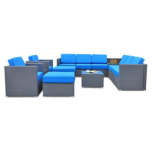 Mcombo Gray Patio Rattan Wicker Furniture Sectional Conversation Sofa Chair Set with All-Weather Coffee Table, Weather-Resistant Cushion Cover 6086-1013 (Blue)
