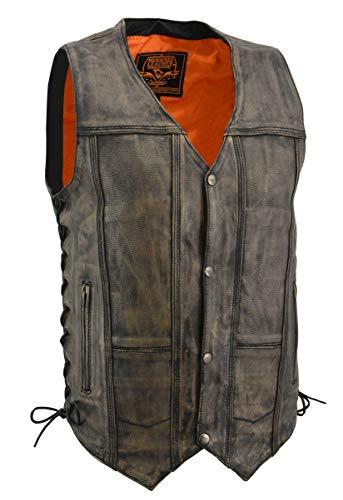 Mens Distressed Leather 10 Pocket Vest, Brown Size ()
