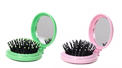 Price comparison product image LOUISE MAELYS 2pcs Mix Color Round Folding Pocket Hair Brush Mini Pop-up Hair Comb with Makeup Mirror