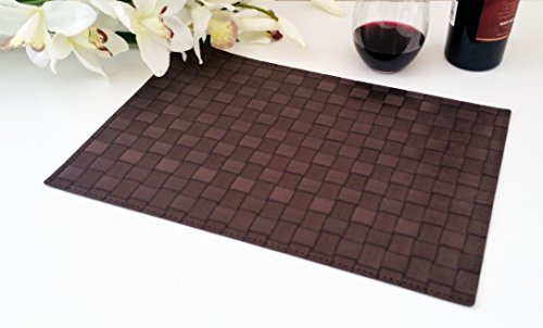 Place Mats , Washable Table Mats , Heat Resistant , Non-slip Placemat , Dining Placemats , PVC Table Mat for Dining Table , Set of 6 Vinyl Kitchen Placemats (6, Brown)