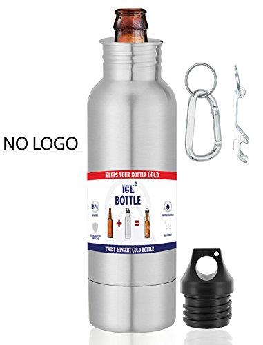 The Original Beer Bottle Cooler - Cold Beer Keeper - Stainless Steel Bottle Armor Insulator - Bottled Beer Armour Holder - Fits 12oz Bottles - Includes Bottle Opener & Keychain Carabiner (No Logo)