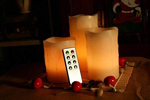 Ivory Set of 3 Inc CAD70RW31456D EcoGecko Unilution Wax Drip Effect Flameless Pillar Candles with Remote