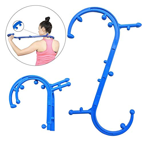Eilane Back and Neck Massager Tool, Trigger Point Self Deep Muscle Massage Hook Portable Foldable Multifunction Massage Cane Fibromyalgia Pain Relief