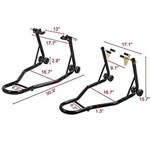 go2buy Universal Motorcycle Wheels/Tire Paddock Stands Front and Rear Chock Swingarm Lift Kit