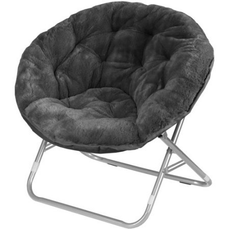 Moon Saucer Chairs for Kids Teens Adults Faux Fur Folding Padded Portable Gaming Chair Bundle Includes 2 in 1 Stylus Pen from Designer Home (Black)