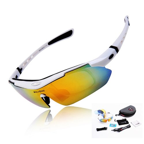 Wolfbike POLARIZE Sports Cycling Sunglasses with 5 Set Interchangeable Lenses White