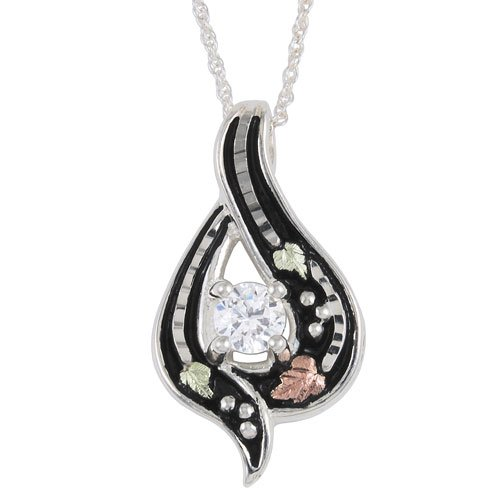 Black Hills Gold Antiqued Pendant in Sterling Silver with White Cubic Zirconia