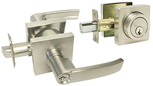 Fits Square Plates (5 Sets Satin Nickel Square Plate Entry Entrance keyed Levers with Matching Single Cylinder Deadbolts Combo Keyed Alike 8048DC)