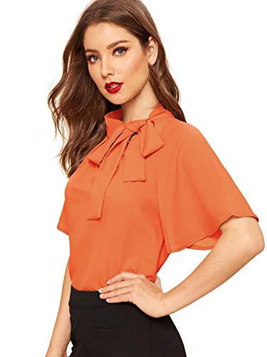 SheIn Women's Casual Side Bow Tie Neck Short Sleeve Blouse Shirt Top Medium Orange