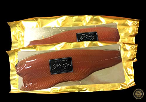 5.0 Lb. New York's Delicacy, Most Awarded, Pre-Sliced, Smoked Salmon Nova, Fully Trimmed, Skin-Off (2 Fillets)