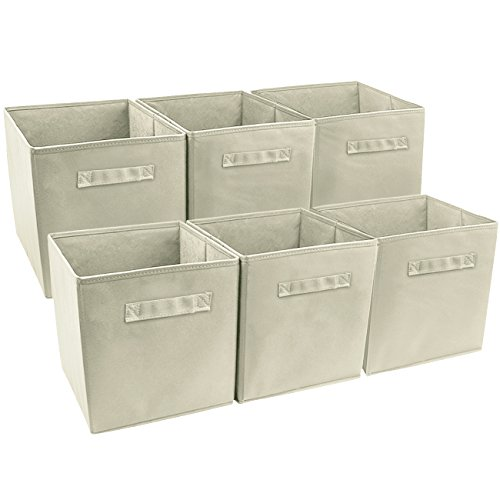 Sorbus Foldable Storage Cube Basket Bin, 6 Pack, Beige Storage Baskets For Shelves