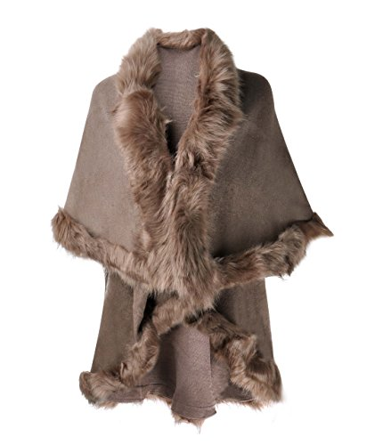 ZLYC Women Fine Knit Open Front Faux Fur Trim Layers Poncho Cape Cardigan Sweater, - Liner Silk Faux