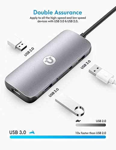 USB C Hub, Utaxo 8-in-1 USB C Adapter with 4K@30Hz HDMI, 1Gbps Ethernet Port, 2 USB 3.0 Ports, 1 USB 2.0 Port, SD/TF Card Reader, 100W PD Charging Port for MacBook/Pro/Air, Type C Windows Laptops
