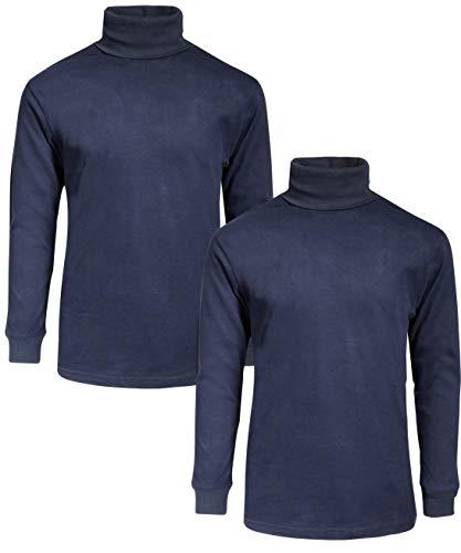 Beverly Hills Polo Club Boy's School Uniform 2-Pack Long Sleeve Turtleneck Shirts, Navy/Navy, 12/14'