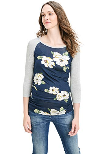 LaClef Women's Maternity T-Shirts Top with Baseball Raglan (Navy Flower/H Grey, M)