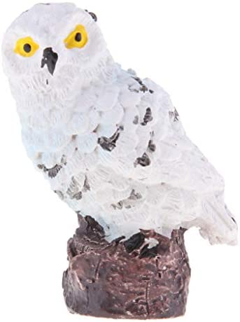 FLAMEER フクロウ置物 飾り物 ミニチュア マイク風景装飾 オーナメント 屋外 ガーデン DIY - ホワイトA