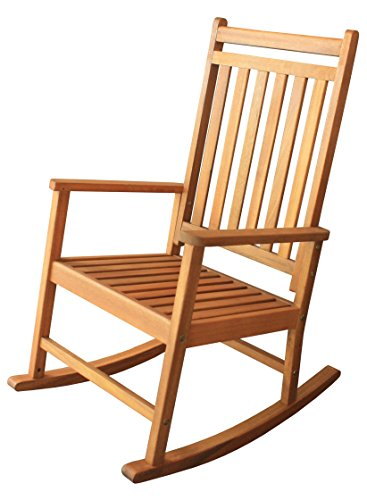 LuuNguyen Franklin Outdoor Hardwood Rocking Chair(Adult Size, Natural Wood Finish) (Cheap Chairs Wooden Rocking)