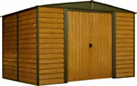 Arrow Woodridge Low Gable Steel Storage Shed, Coffee/Woodgrain