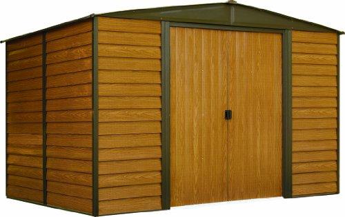 Shed Galvanized (Arrow WR1012 Galvanized Low Gable Coffee/Woodgrain Steel Storage Shed, Coffee, 10' x 12')