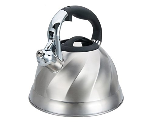 Home N Kitchenware Collection 3 Liter Stainless Steel Whistling TeaKettle Teapot, Bakelite handle, Capsule Base 18/10 Stainless Steel Whistling Tea Kettle Pot, Silver