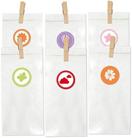 Papierdrachen 24 Partytüten mit 24 Aufklebern - Geschenktüten Set mit Stickern zum Geburtstag - Mitgebsel zum Befüllen und Verschenken - kleines Dankeschön an Deine Gäste - Set 3 weiß