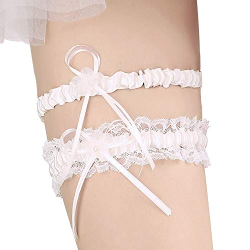 Lace Wedding Garters for Bride Pearl Stretch Prom Garter, Women Wedding Bridal Legs Garter Set (White) ()