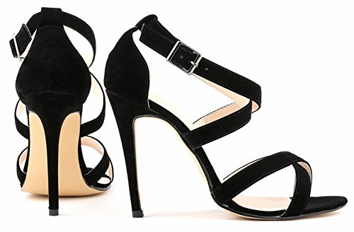 Fangsto Women's Suede Leather Super High-Heeled Ankle Strappy Sandals Buckle Closed Back Shoes Black