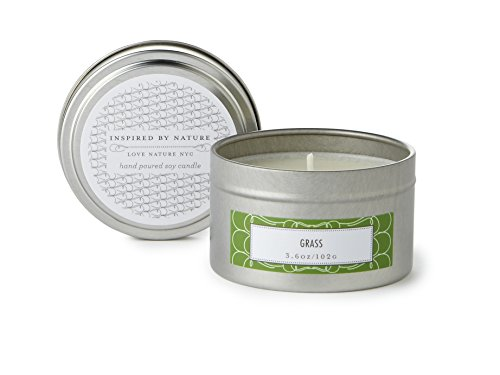 Grass Scented, Travel Tin, Clean Burning Non-Toxic, Fragrance Notes of Grass and Jasmine, 25-30 Hours 3.6oz Fill, by Love Nature NYC (Original Travel Candle)